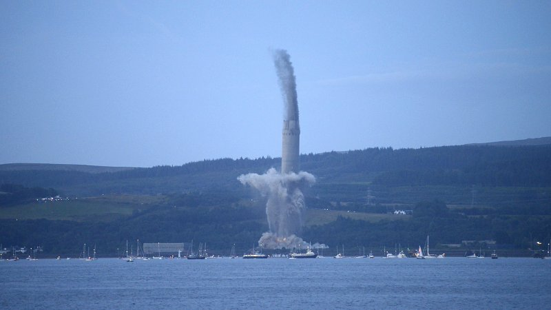 Inverkip Power Station Chimney Demolition July 28 2013