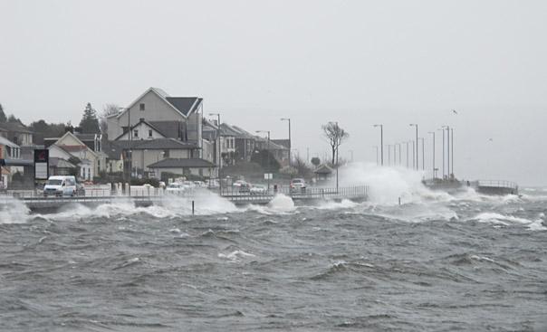 Dunoon esplanade in storm