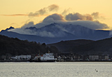 Bute Ferry arriving at Rothesay, sunset