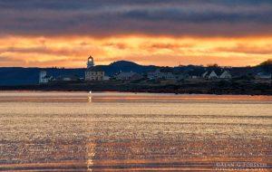 Toward Lighthouse at Sunset