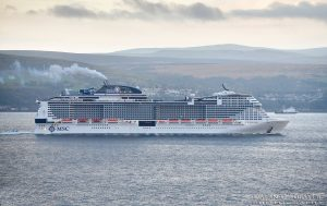MSC Cruiseship Heading South Down the Clyde