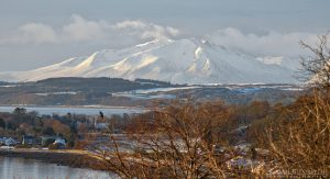 Arran Mountains in Winter from South Cowal