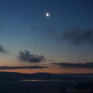 Venus - Crescent Moon - Jupiter over Largs 31-Jan-2019