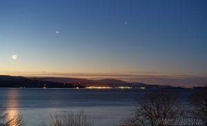 Moon - Venus - Jupiter Antares (double star) conjunction 1-Feb-2019